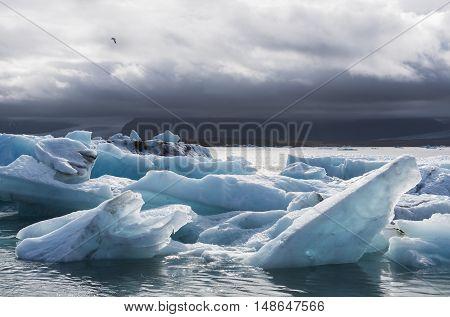 Ice blocks at the lake of Jokulsarlon glacier lagoon in the Vatnajokull National Park Iceland.