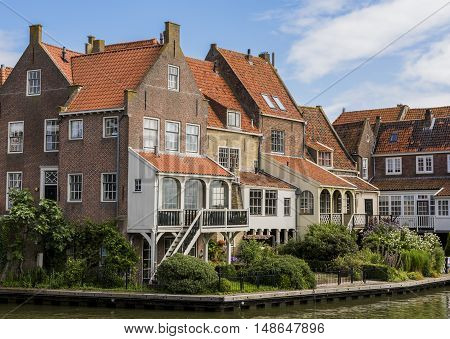 Old houses in the center of Enkhuizen The Netherlands.