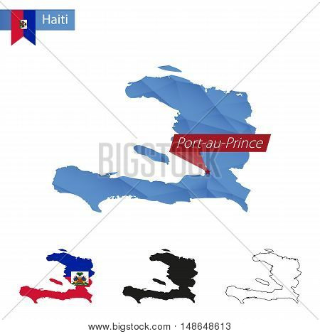 Haiti Blue Low Poly Map With Capital Port-au-prince.