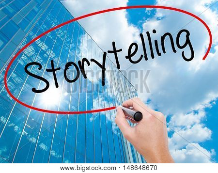 Man Hand Writing Storytelling With Black Marker On Visual Screen.