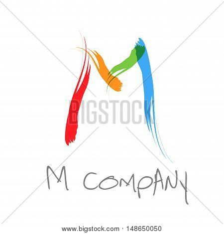 Vector initial letter M scrawled colored text