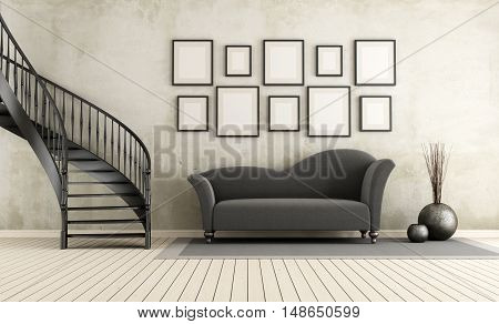 Classic Living Room With Circular Staircase