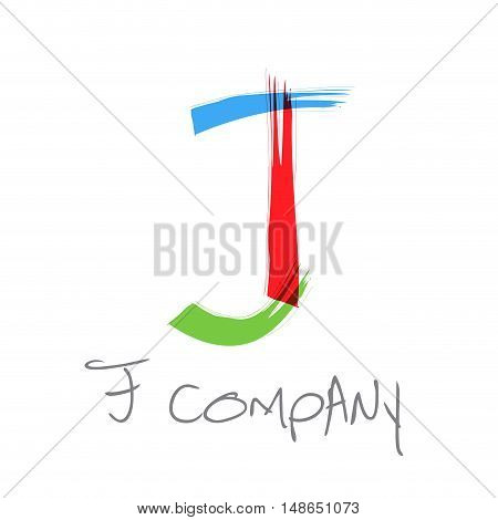 Vector initial letter J scrawled colored text