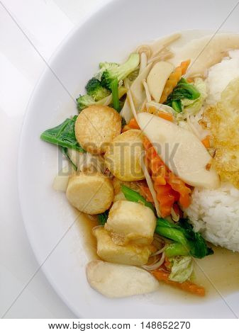 Stir Fried Tofu In Chinese Style,deep Fried Tofu With Gravy Sauce ,stir Fried Tofu With  Mixed Veget