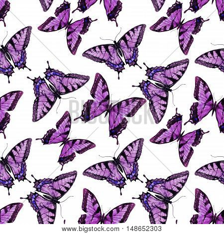 Beautful pattern with nice hand drawn watercolor butterflies