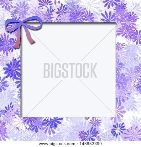 blue flowers scattered  on white center illustration