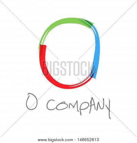 Vector initial letter O scrawled colored text
