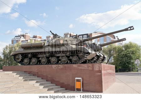 BELGOROD RUSSIA - August 30.2016: Older models of tanks participated in the battle near the entrance to the museum-diorama of the Battle of Kursk