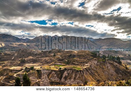 Colca Canyon view from hiking path in Chivay, near Arequipa, Peru