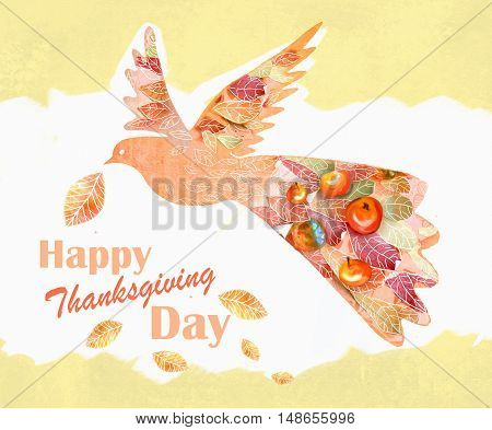 Card for Thanksgiving Day with floral design. Illustration of a flying bird with leaves red ripe juicy apples and text Happy Thanksgiving Day. Hand drawn thanksgiving greeting image.