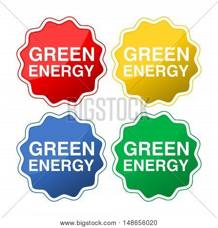 Green energy sign icon set on white background