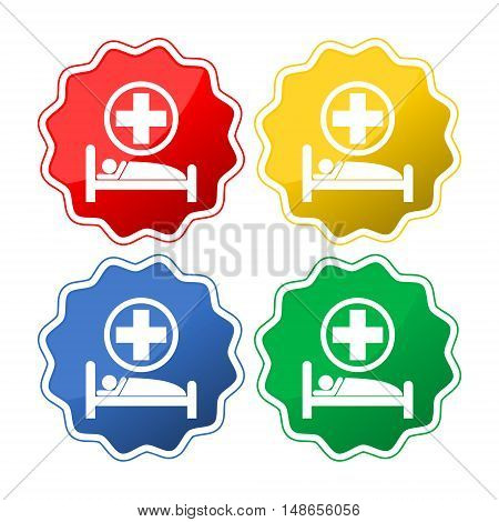 Hospital bed and cross, vector icon on white background