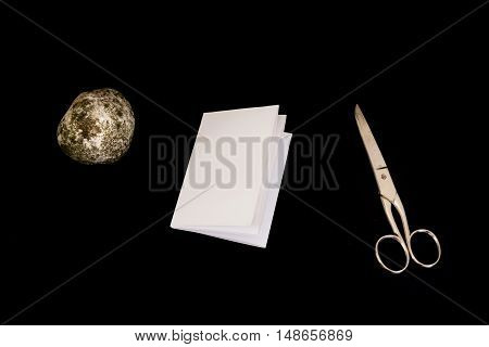 Rock Paper Scissors Game Black Isolated Background Decision Objects