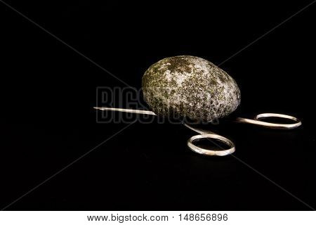 Rock Beats Scissors Crush Metal Stone Dirty Black Isolated Background Game