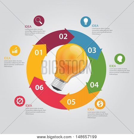 six 6 elements of idea info graphic chart circle vector bulb idea business shine