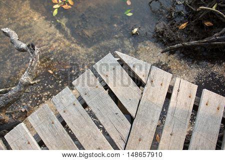 Wooden table top view , Wooden walkway