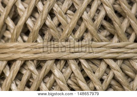 Detail of a spool of brown rope.