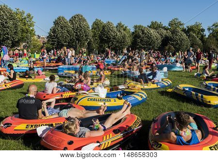 Utrecht The Netherlands - August 6 2016: Zodiac (Rubber Boat) Mission in Utrecht world record The Netherlands