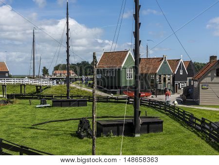 Enkhuizen The Netherlands - August 9 2016: Zuiderzee Museum Enkhuizen with old fisherman houses in The Netherlands.