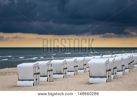 Beach chairs in Zinnowitz (Germany) on the island Usedom.