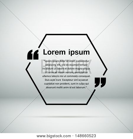 Abstract composition, static picture, info icon, hexagon phrase frame, business sentence background, geometric backdrop surface, quotation block, visual text elements, EPS 10 vector illustration
