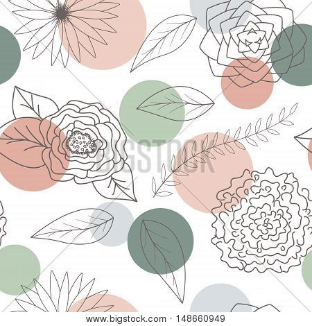 Abstract flowers and leaves seamless pattern background. Abstract Elegance colorful Seamless pattern with floral background. The pattern for wallpaper tiles fabrics and designs. Vector.