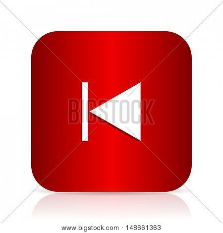 prev red square modern design icon