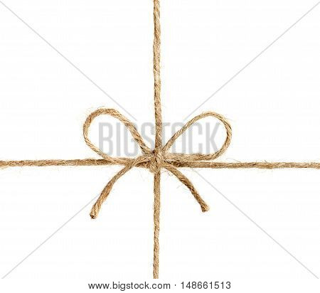 String or twine tied in a bow isolated on white background. Gift or present concept.