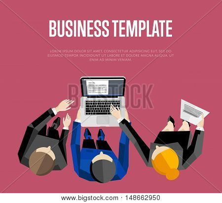 Business template with space for text, vector illustration. Overhead view of business people with laptop discussing details of business project on vinous background. Business team work process.