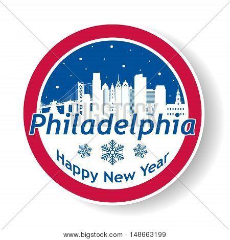 Philadelphia United States of America city skyline silhouette in snow globe. Vector design. Winter skyline.