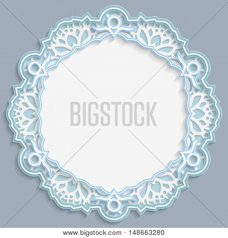 3D round frame vignette with ornaments lace frame bas-relief ornament festive pattern openwork pattern template greetings vector