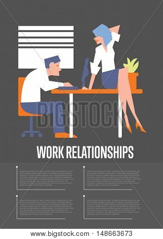 Work relationships banner with businessman working at desktop computer and businesswoman sitting on table, isolated vector illustration on gray background. Coworkers talking. Teamwork concept