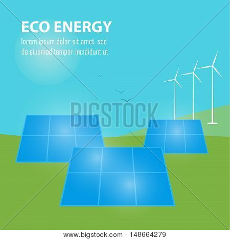 Eco energy vector illustration. Power plant using renewable solar energy with sun and wind turbine. Alternative electricity source. Clean, sustainable, renewable and ecological energy generation