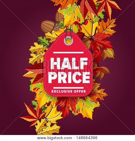 Autumn seasonal sale badge, vector illustration. Half price, exclusive offer label on purple background with colorful autumn leaves. Red price tag with white text. Autumnal discount.