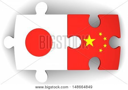 Cooperation of Japan and the People's Republic of China. Puzzles with flags of the Japan and China on a white surface. The concept of coincidence of interests in geopolitics. Isolated. 3D Illustration