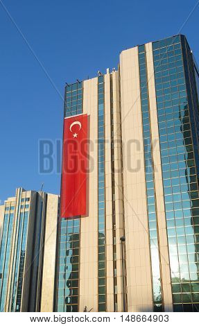 Skyscraper With A Turkish Flag In Istanbul