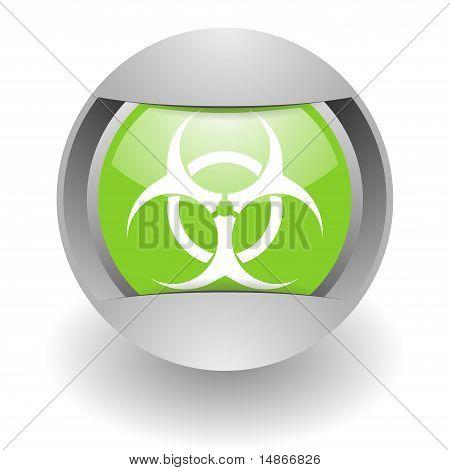 biohazard steel green glosssy icon