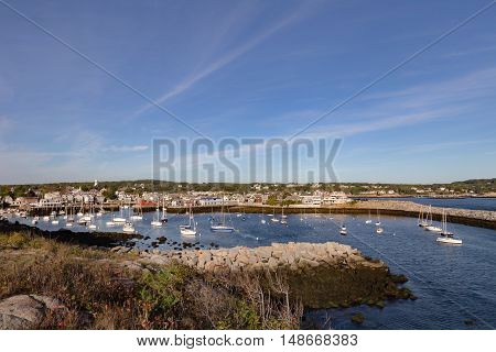 Looking towards Rockport Harbor Massachusetts in the early morning..