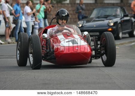 BELGRADE,SERBIA - SEPTEMBER 10, 2016: Oldtimer formula at the commercial race of old cars in memory of formula 1 race held on the same place in 1939 two days after the beginning of Second World War when the famous Italian driver Tazio Nuvolari won