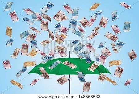 Umbrella and euro bills 3D money falling