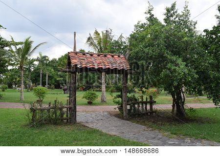 landscaping brick gate in countryside in vietnam