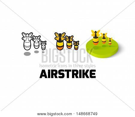Airstrike icon, vector symbol in flat, outline and isometric style