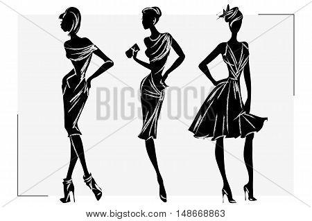 Black And White Retro Fashion Woman Model. Hand Drawn Vector