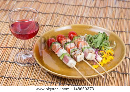 Three Flavored Fish Barbeque and red wine / Salmon Tuna and Seabass fish Barbeque