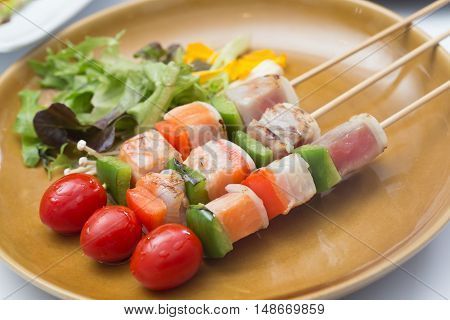 Three Flavored Fish Barbeque / Salmon Tuna and Seabass fish Barbeque