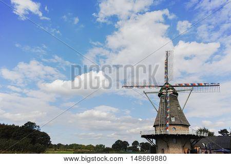 Typical Dutch landscape - flour windmill near Veldhoven North Brabant