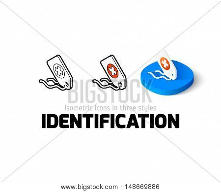 Identification icon, vector symbol in flat, outline and isometric style