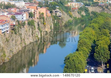 aerial view on Old Tbilisi, famous hunging houses over river Mtkvari poster