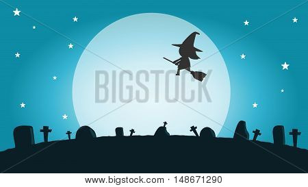Halloween witch silhouette on the moon , vector illustration of Halloween witch Happy Halloween,Halloween Party