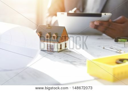 Architecture, Building And Construction. Cropped Shot Of African Architect Holding Digital Tablet, W